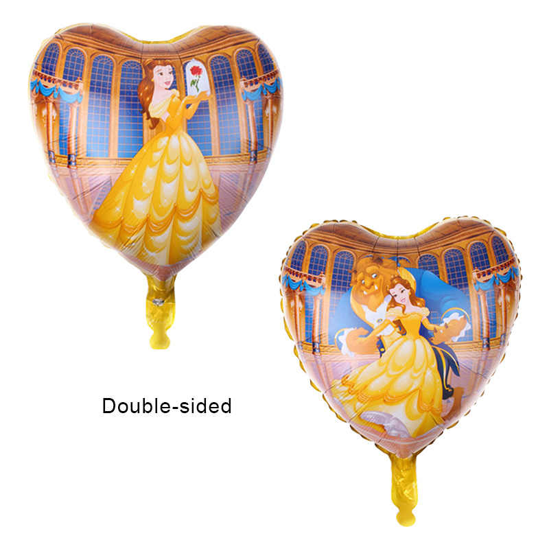5pcs Beauty และ Beast บอลลูนฮีเลียม 30 นิ้วจำนวนบอลลูนเจ้าหญิงสาวงานเลี้ยงวันเกิดบอลลูนบอลลูนตกแต่งของเล่น