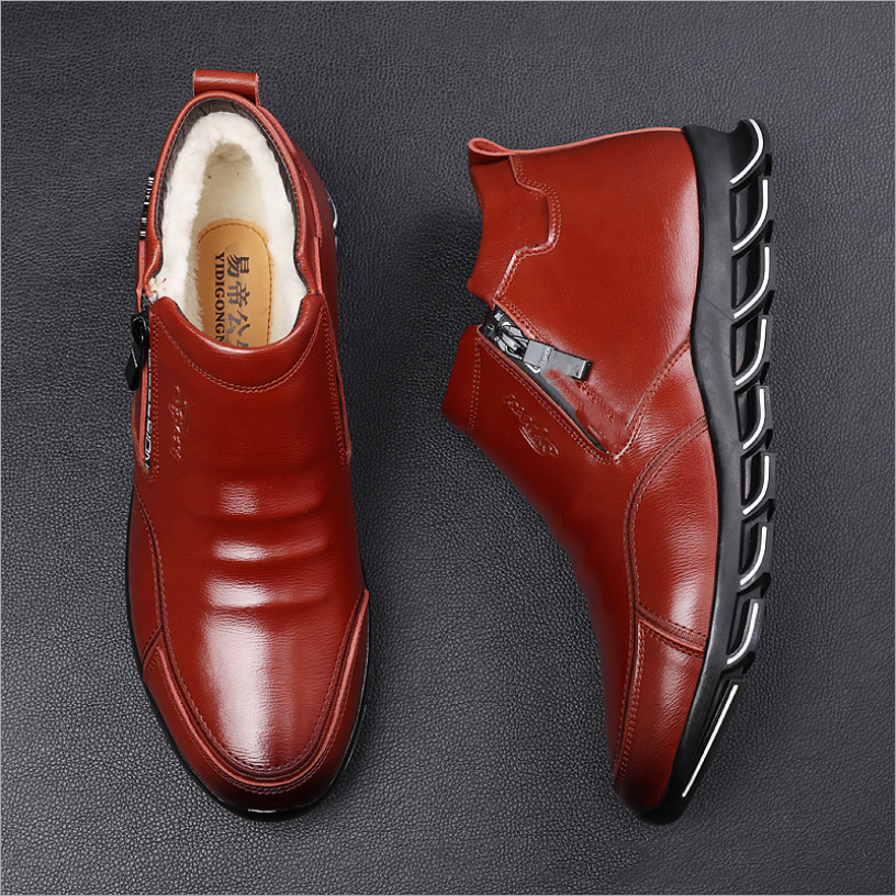 AQ12 männer schuhe 2019 neue Echtem Leder 100% wolle Halten warme stiefel männer mode Chelsea winter botas zapatos de hombre