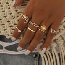 Boho Gold Vintage Rings Star Moon Beads Crystal Ring Set Women Geometric Charm Joint Ring Party Wedding Female Fashion Jewelry 17km vintage gold crystal rings set moon star beads ring for women metal charm ring bohemian wedding fashion jewelry party gifts