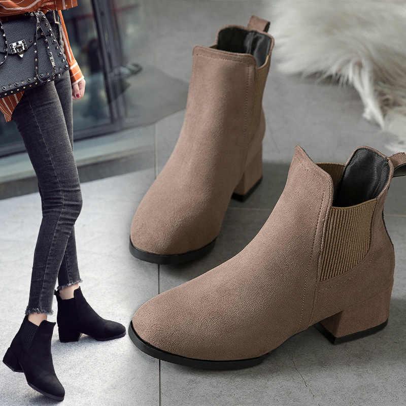 Inverno Stivali donna 2019 Stivali Alla Caviglia Nero Per Le Donne di Spessore Tacco Slip On Scarpe Da Donna Stivali Bota Feminina