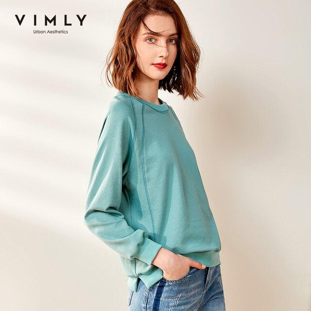 Vimly Hoodies Women Vintage O neck Loose Solid Harajuku Autumn Pullover Female Sweatshirt Sudaderas F0665 2