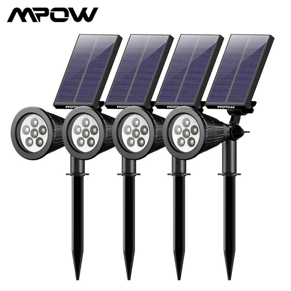 4 Pack MPOW 6 LED Solar Light Garden Rechargeable Landscape Spotlight 180 Angle Adjustable Solar Panel Waterproof Luces Solares LED Lawn Lamps     -