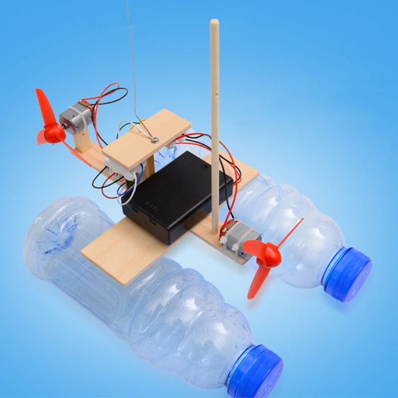 Wooden RC Boat Assembly Remote Control Boat Battery Powered Educational Toy