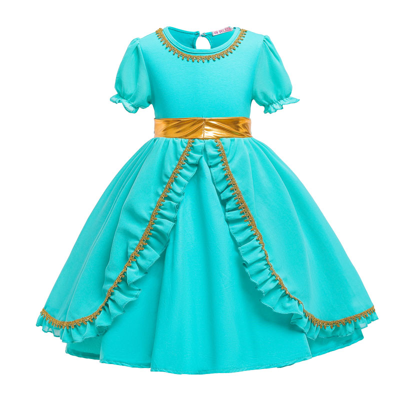 Image 2 - Dress For Girls Jasmine Dress Kids Princess Costume Children Carnival Birthday Party Clothes Cosplay Clothing Accessory WigDresses   -