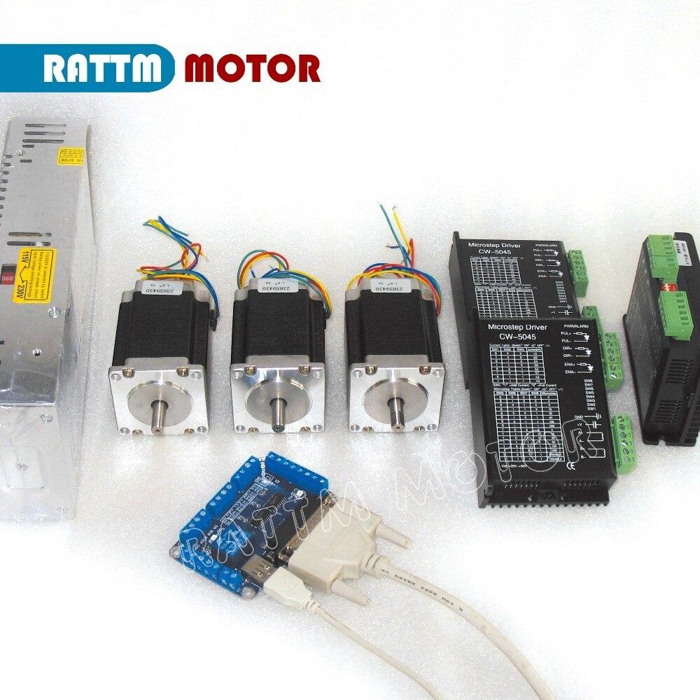 Новый тип 3-осевой набор контроллеров CNC NEMA23 270oz-in шаговый двигатель 76 мм и CW5045 драйвер с 256 микрошаговым и 4.5A током