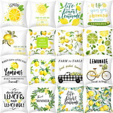 Nordic Fresh Yellow Lemon Print Pillowcase Hot Simple Polyester Cushion Case Floral Letters Pillows Case Decorative Sofa Couch