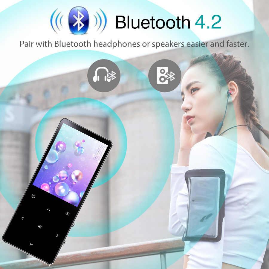 Mini reproductor de música REDANT Bluetooth MP3 hifi sin pérdidas con auriculares de altavoz de radio fm, deportivo MP 3 portátil de metal walderman