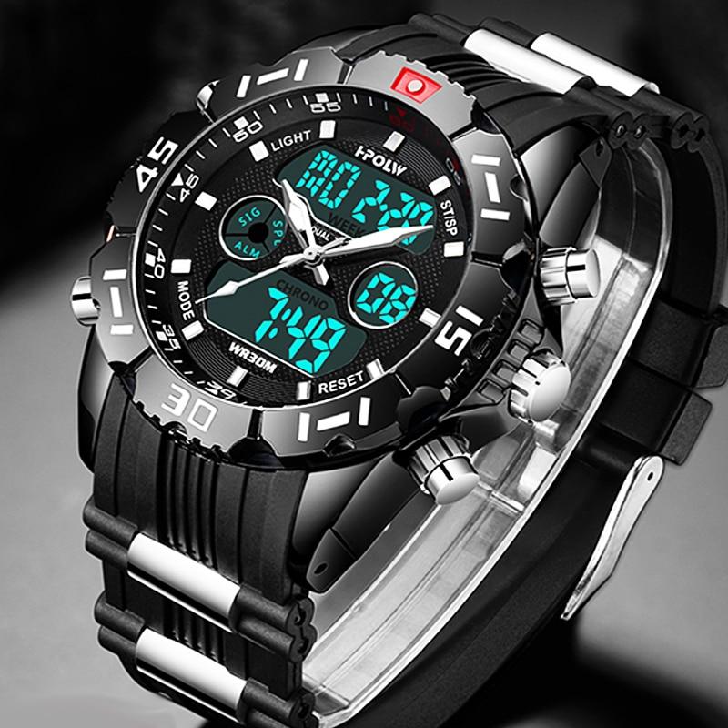 Fashion Sport Super Cool Men's Quartz Digital Watch Men Sports Watches HPOLW Luxury Brand LED Military Waterproof Wristwatches