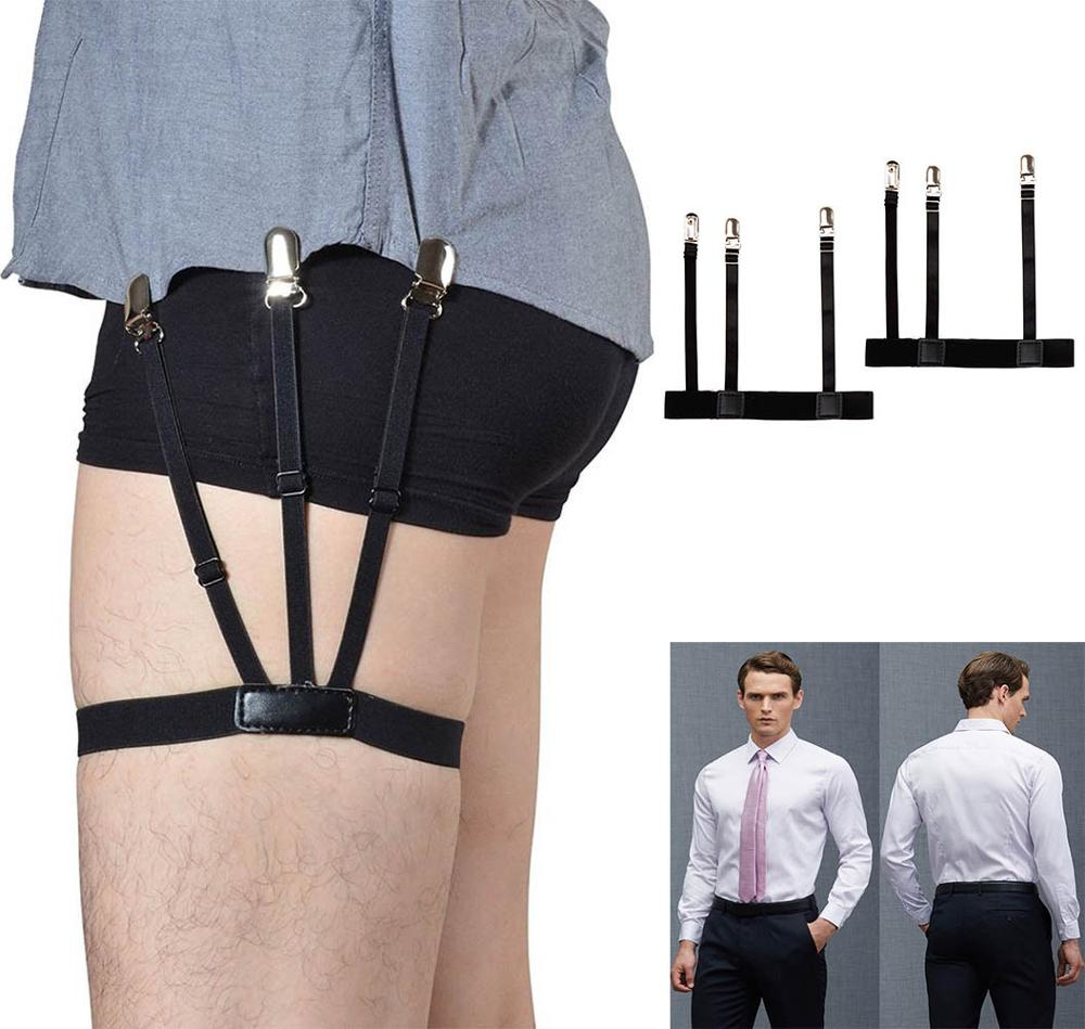 Suspenders 1 Pair Mens Shirt Holder Bretels Adjustable Shirt Stay Garters Belt With Non-Slip Jartiyer Locking Clamps Braces Hot