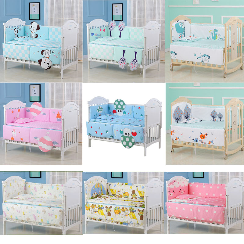 5pcs Toddler Pure Cotton Baby Bed Bumper Crib Bumper Infant Room Decor Newborn Knotted Crib Bumper Cartoon Bed Braid Protector