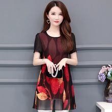 2020 Fashion Short Sleeve Elegant Lady Shirt Women Blouse Floral Printing Chiffon Large Size Women's Clothing Blusas L422(China)