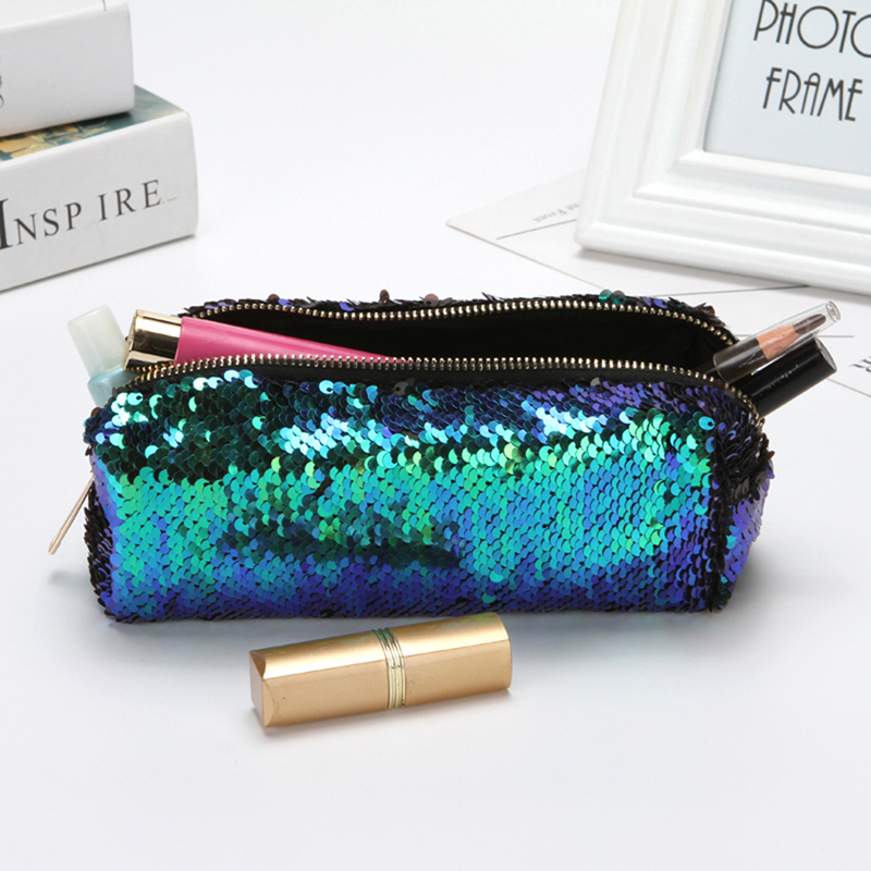 Fashion High Quality Double Color Sequins Handbag Cosmetic Bag Makeup Pouch Women Girl's Pencil Bags