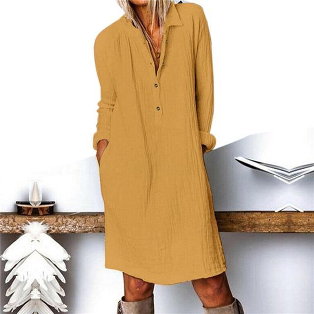 Cotton Linen Women Dress 2020 Spring Autumn Loose Plus Size Casual Vestidos Long Sleeve Nature Button Turn Down Collar Dresses 2