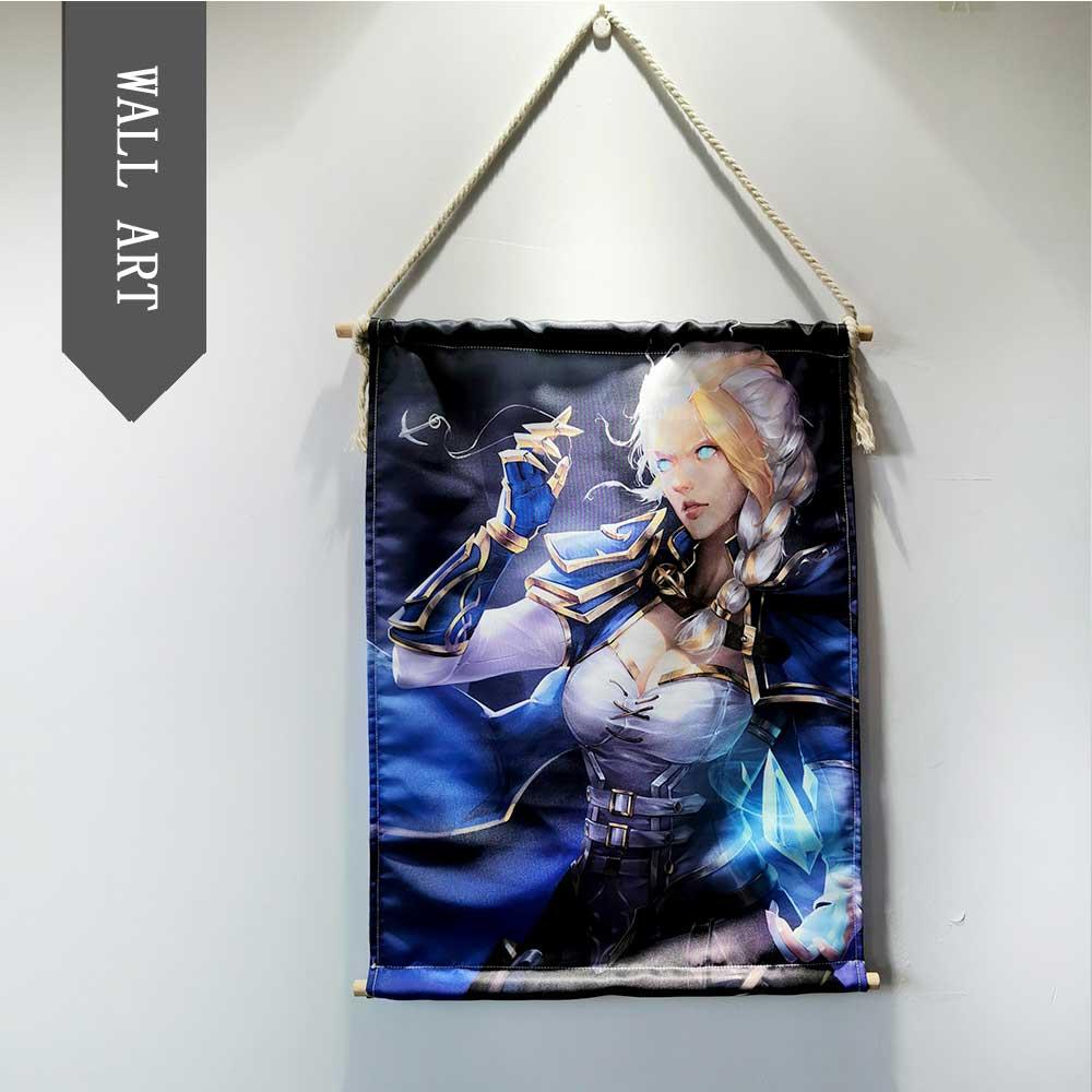 World of Warcrafts game Sylvanas Jaina Hanging Wall Art Poster Modern Solid Wood Cotton String Hanging Shaft Scroll Painting