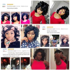 Image 5 - Afro Parrucca Sintetica Fibra Resistente Al Calore capelli Nero Naturale Breve Ricci Parrucche Dei Capelli Per Le Donne Nere