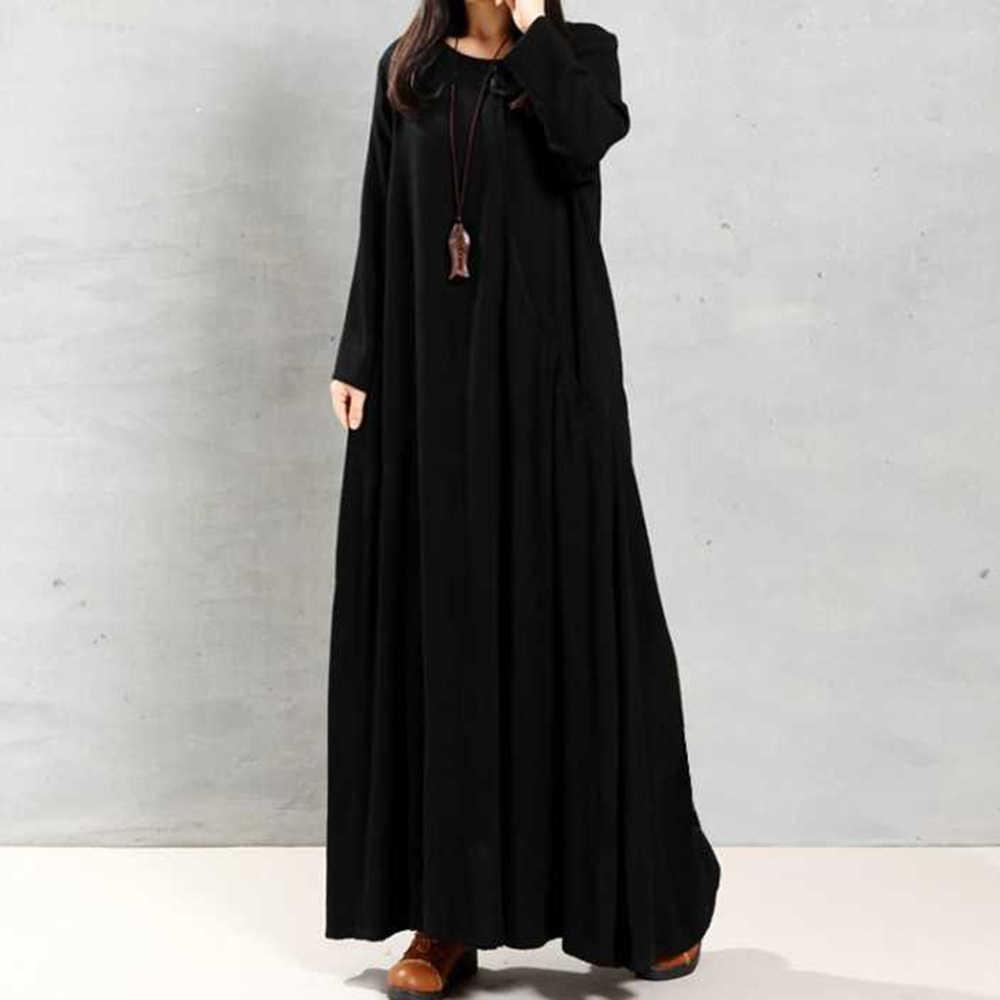 Плюс Размеры 2XL с длинным рукавом Свободные Повседневное Для женщин этнические платья макси со Размеры d в классическом винтажном и ретро-стиле Японии черные халат 2019 зима Лидер продаж