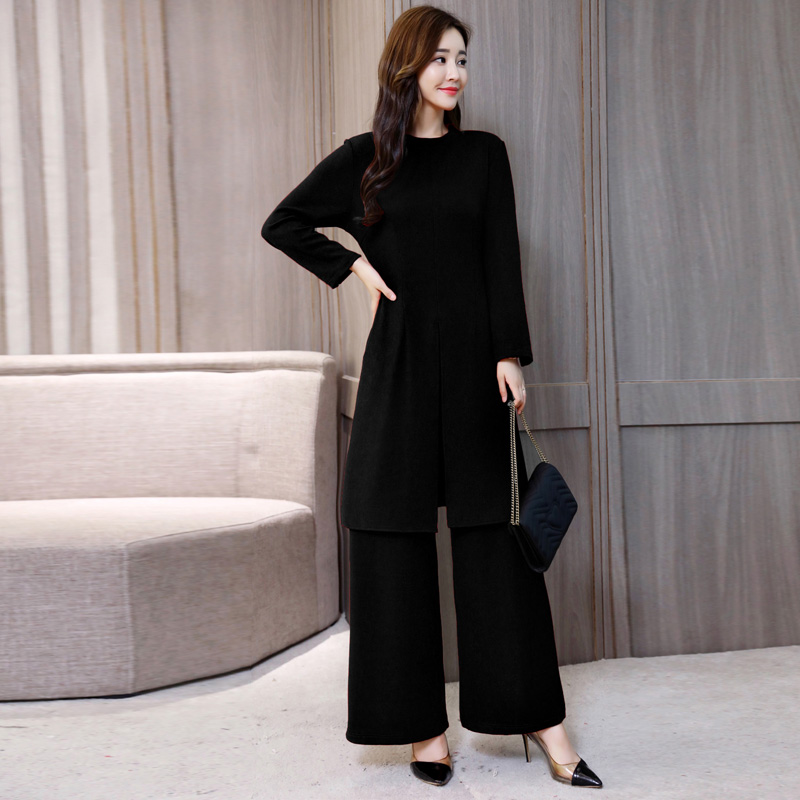 Discount╤Suit Trousers Dress Hong-Kong Two-Piece Autumn Showing Female Korean-Version Long-Sleeved­
