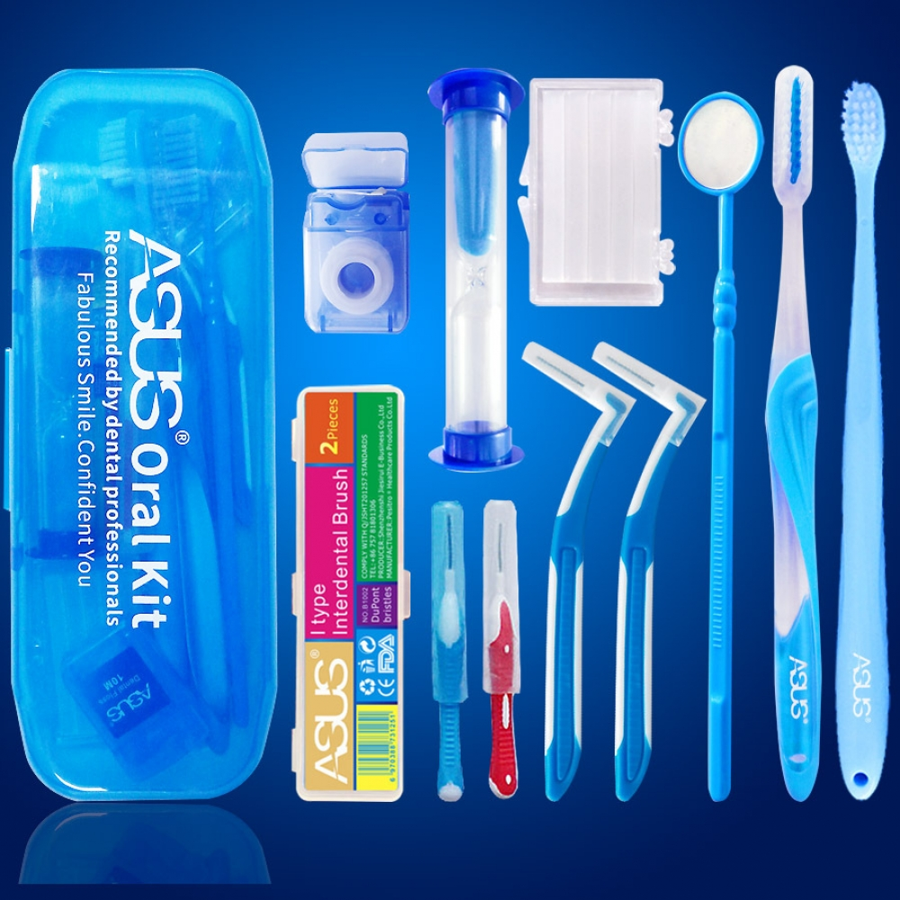 Portable Oral Clean Tool Orthodontic Oral Care Kit Tooth Brush Mouth Mirror Interdental Brush Dental Floss Orthodontic Clean Kit