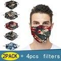 Камуфляжная маска с 2 фильтрами PM2.5 маска для лица Унисекс Мужская и женская маска для рта многоразовая моющаяся Тканевая маска для рта Masque 8,...