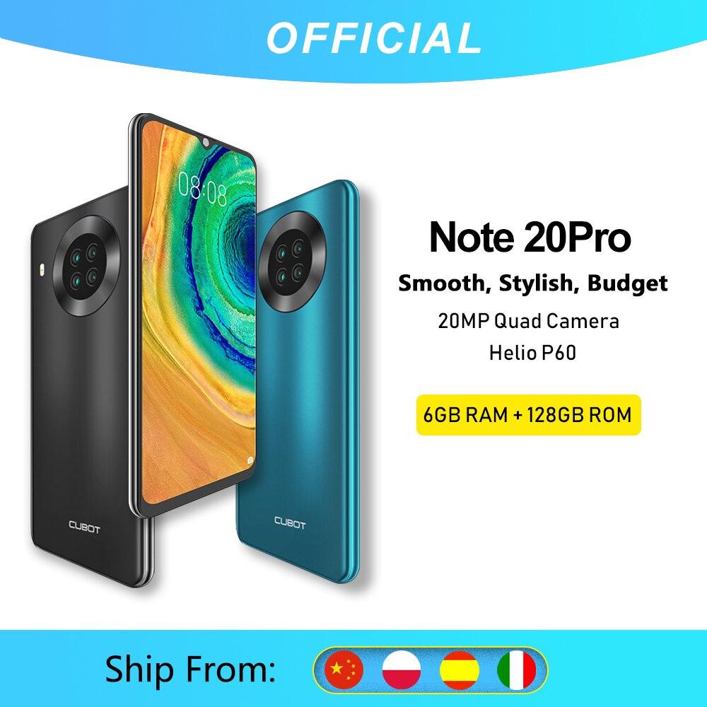 هاتف Cubot نوت 20 Pro الذكي بكاميرا خلفية رباعية خاصية NFC بشاشة 6.5 بوصة وبطارية 4200 مللي أمبير في الساعة يعمل بنظام أندرويد 10 وبطاقة SIM مزدوجة هاتف 4G LTE برامات 3 جيجابايت + ذاكرة 64 جيجابايت Cubot Note20 Pro