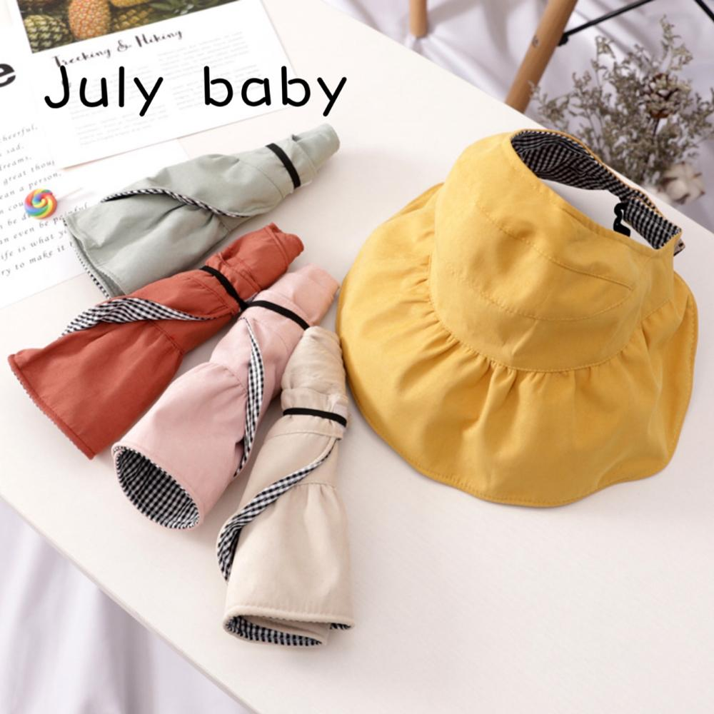 July Baby Child Hat Summer Thin Sunscreen Hat Cute Sunscreen Soft Foldable Portable 1-7 Years Old