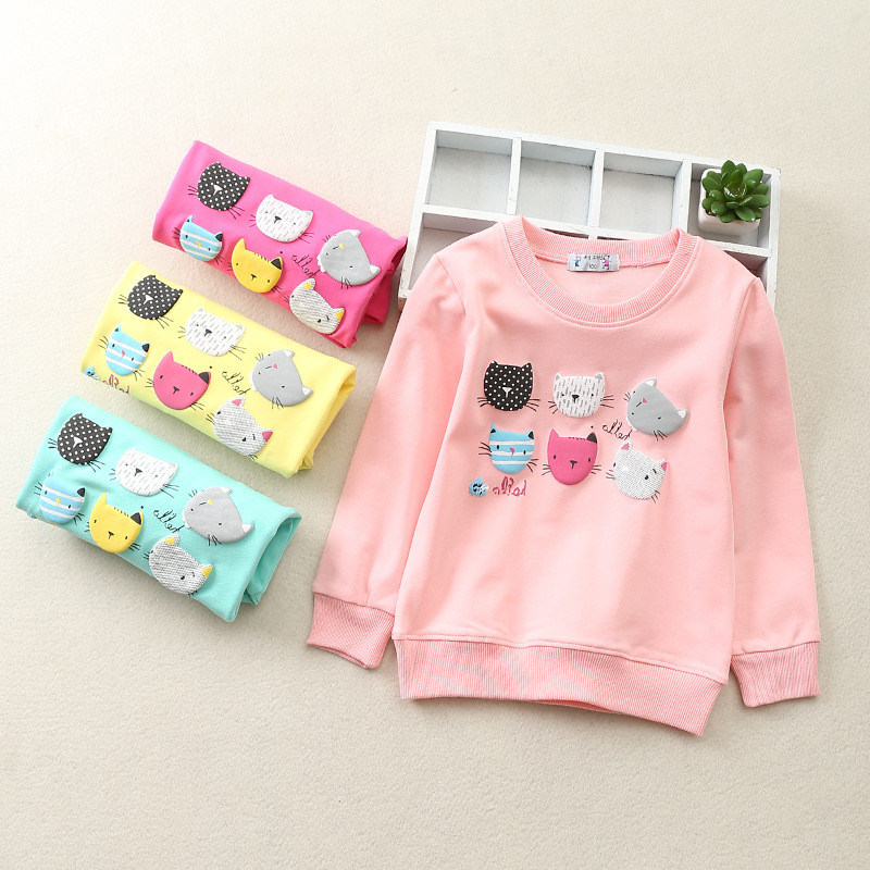 Children Hoodies Sweatshirts Toddler Baby-Girls Long-Sleeves Infant Kids Cartoon 6 Cats