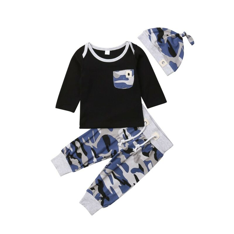 Newborn Baby Boy Clothes Camouflage Top Romper Long Pants Hat Causal Cotton Outfits 3pcs Set