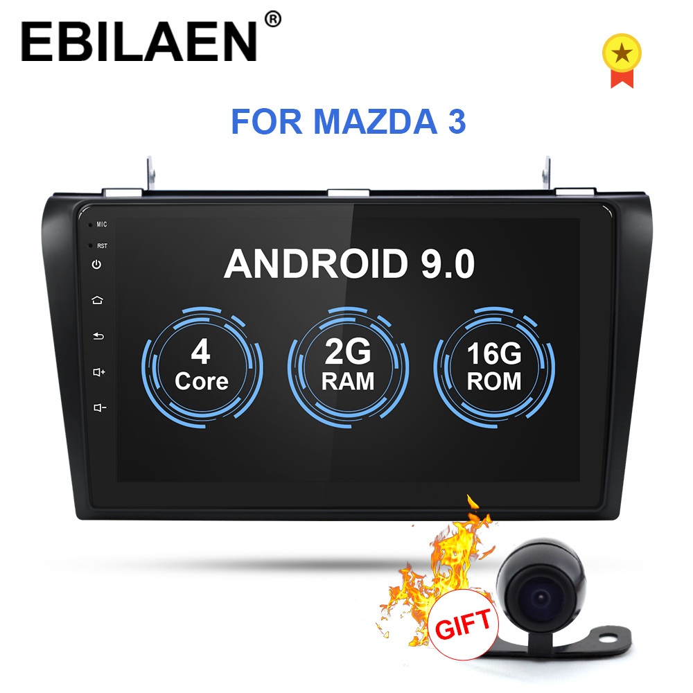 EBILAEN Car Multimedia Radio Player For <font><b>Mazda</b></font> <font><b>3</b></font> BK Mazda3 2004-2009 <font><b>2Din</b></font> Android 9.0 Navigation Autoradio Tape Recorder GPS image