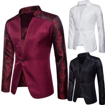 Sleeve-insert collared suit, bar banquet party, wedding, plain men's suit jacket