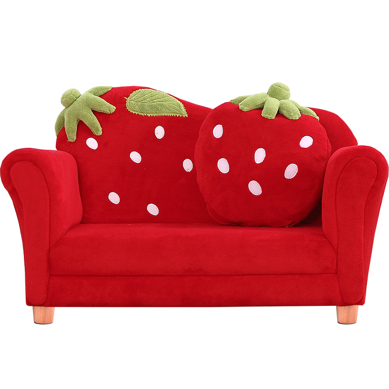 Cartoon Lovely Baby Strawberry Sofa Kindergarten Kids Sofa Solid Wood Bean Bag Zitzak Children Bedroom Red  Two Seat