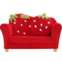 Cartoon Schöne Baby Erdbeere Sofa Kindergarten Kinder Sofa Massivholz Sitzsack Zitzak Kinder Schlafzimmer Rot Zwei Sitz