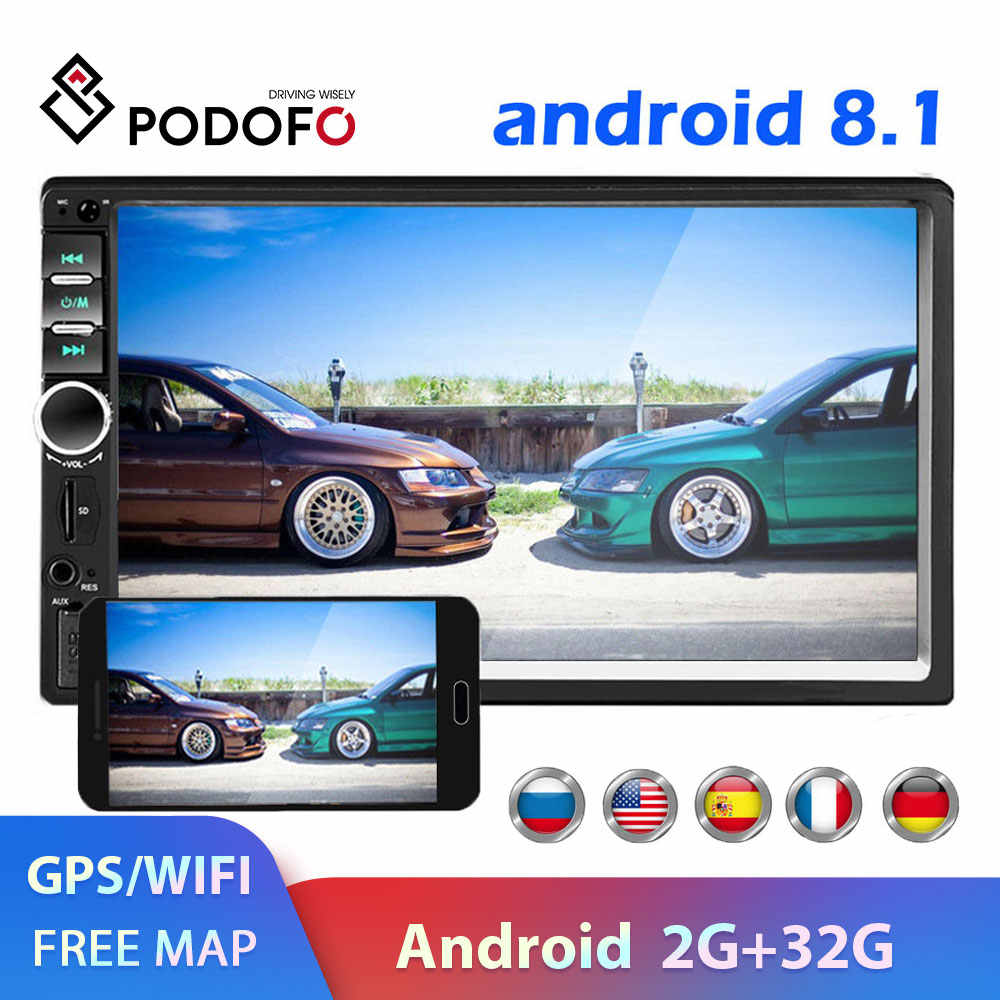 Podofo 2 din Car Radio GPS reproductor multimedia Android Universal auto estéreo 2din Video MP5 jugador Autoradio GPS WIFI Bluetooth FM