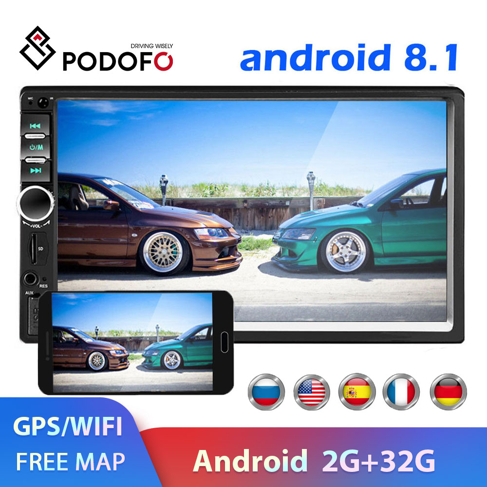Podofo <font><b>2</b></font> <font><b>din</b></font> Car <font><b>Radio</b></font> GPS multimedia Player Android Universal auto Stereo 2din Video MP5 Player Autoradio GPS WIFI Bluetooth FM image