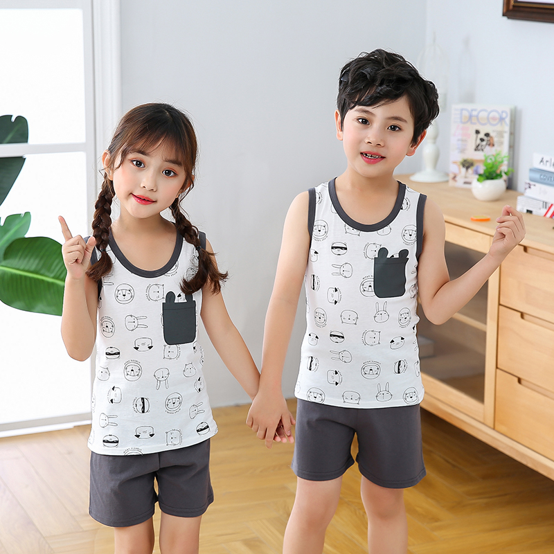 Summer Children's Pajamas Baby Boy Clothes Cotton Pyjamas Kids T-shirt+Shorts 2pcs Cartoon Pajamas For Girls Boys Sleepwear Sets