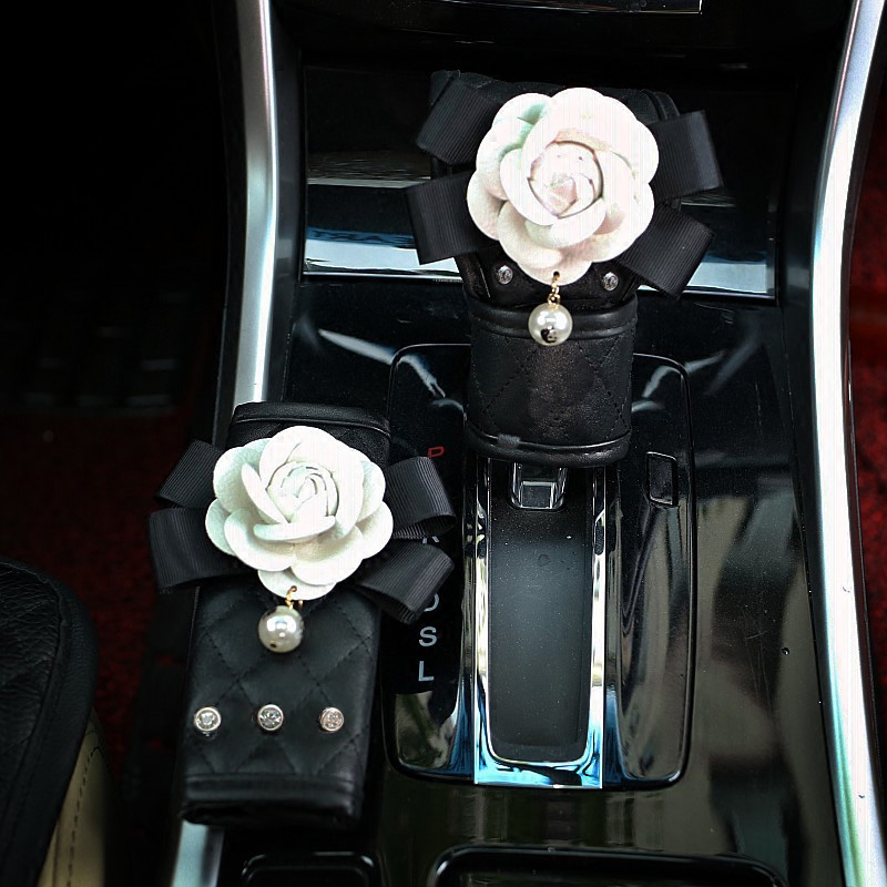 Cute-Camellia-Flower-Crystal-Car-Handbrake-Cover-Gears-Shift-Case-Leather-Safty-Belt-Car-Interior-Accessories (2)