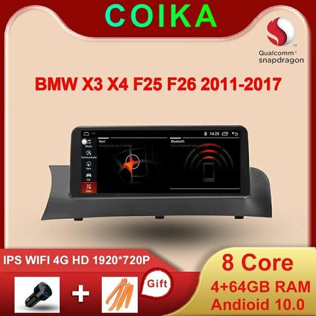 Snapdragon 8 Core מעבד 4 + 64G רכב מולטימדיה עבור BMW F25 F26 2011 2016 GPS רדיו אנדרואיד 10.0 WIFI BT IPS מגע 1920*720 4G LTE
