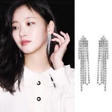 Boucles d'oreilles «Forever monarch» du drame coréen Zheng en Cai, avec chaîne en argent, longues, à pampilles, nouveauté 2021