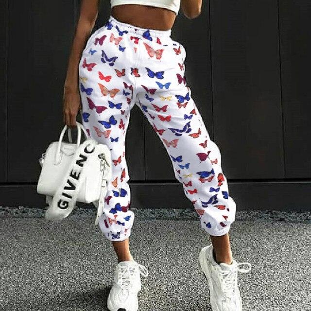Nadruk z motylem luźne spodnie w stylu Hip Hop spodnie damskie letnie Stretch wysokiej talia, moda uliczna Jogger spodnie Harajuku kieszeń spodnie i spódnice