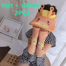 2 шт детская пляжная шляпа с рукавом и козырьком
