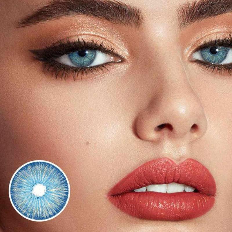 2 pièces/paire lentilles de contact cosmétiques bleu new-yorkais lentilles colorées pour les yeux lentilles de contact couleur lentille de contact pupille naturelle