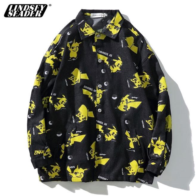 LINDSEY SEADER Cartoon Japan Shirt Men Long Sleeve 2020 Autumn Hiphop Printed Shirt Streetwear Men's Shirts Male Top Thin Jacket