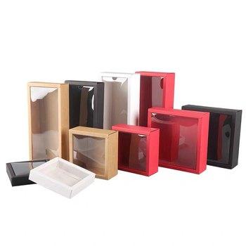 10pcs Kraft Paper Box Transparent PVC Cover Gift Box Cartons Boxes Paxkaging Toddler Shoes Packaging Box
