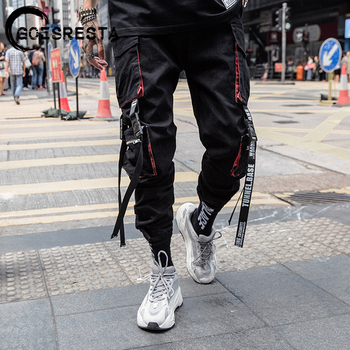 Black Hip Hop Cargo Pants Men  Streetwear Cotton Joggers Fashion Sweatpants Casual Harem Trousers Summer Harajuku 2020 - discount item  60% OFF Pants