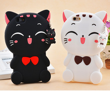 цена на 3D Cartoon Lucky Cat Soft Silicone Phone Back Case Cover Skin For Samsung Galaxy S4 S5 S6 S7 J3 J5 J7 For iPhone 4 4s 5s 6 7plus