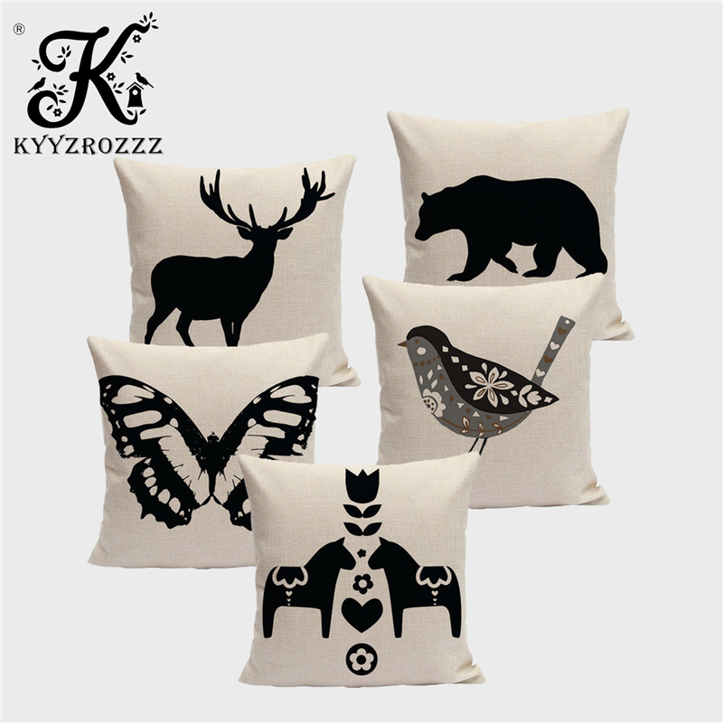 High Quality Black And White Printed Animal Cushion Cover Small Bird Bear Elk Butterfly Tree Home Art Decoration Sofa Pillowcase