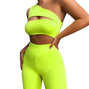 hirigin Sexy Women Neon Orange Two Piece Set One Shoulder Cut Out Crop Tops Elastic High Waist Shorts Sets Sporty Outwear 2020