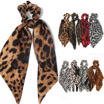 Leopard Big Bow Knotted Hair Rope Long Streamer Scrunchies Women Fashion Elastic Scarf Rings Accessories Headwear