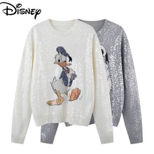Disney Donald Duck Spring new cartoon sequins loose round neck pullover fashion sweater women