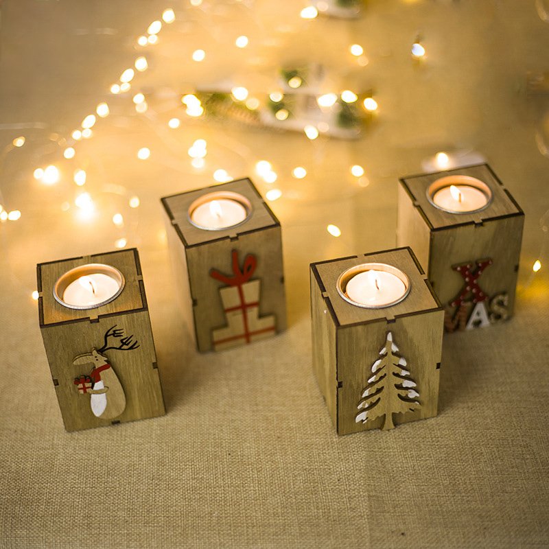 Mini Wooden Candlestick Candle Light Ornament Home New Year Christmas Party Decoration Accessories C1512 d
