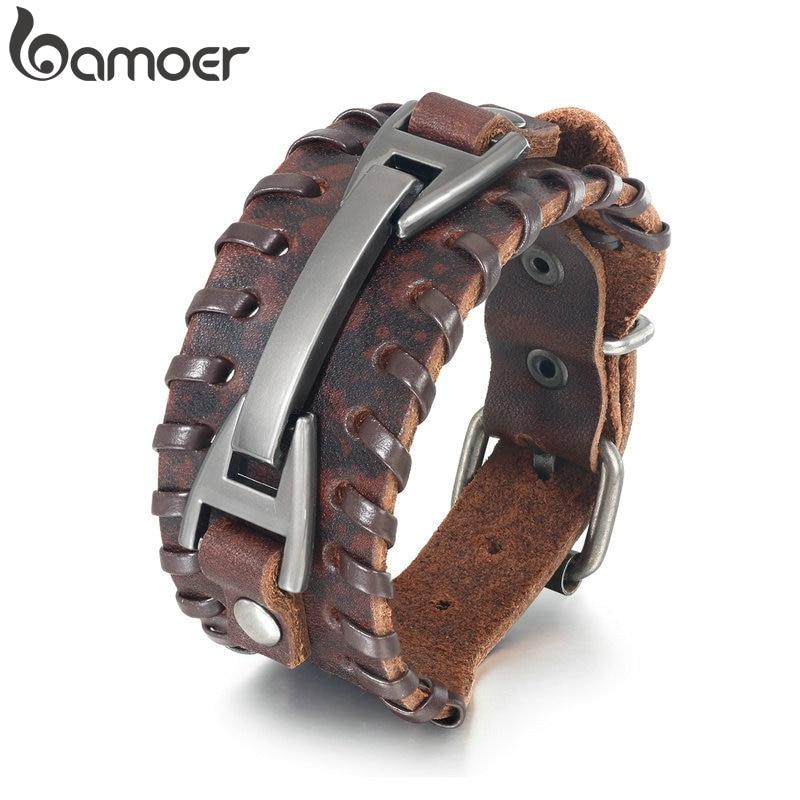 BAMOER Vintage Punk Leather Bracelet 2 Color Black & Brown Fashion Clasp Multilayer Braid Rope Bracelet for Men Jewelry PI0339 1|Wrap Bracelets|   - AliExpress